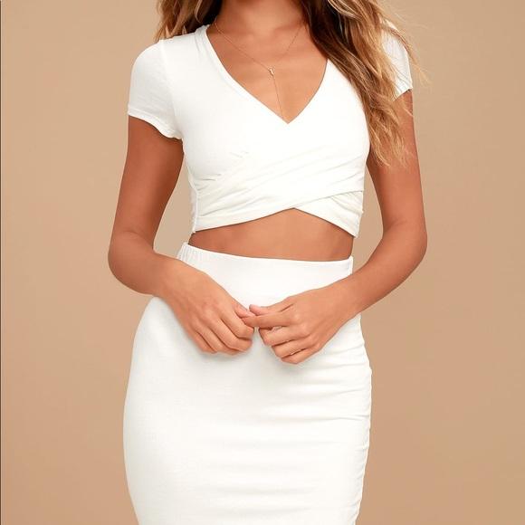 70e84eb4f7 Lulu's Dresses & Skirts - Lulus white skirt & shirt outfit / two-piece dress